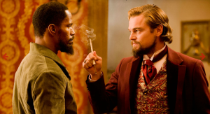 Jamie Foxx as Django and Leonardo diCaprio as Calvin Candie in a scene from Django Unchained (The Weinstein Cmpany and Collumbia Pictures)