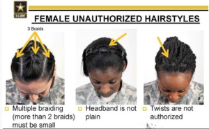 "Photo of female hair styles considered ""unauthorized"" by the US Army.   (Photo: US Army)"