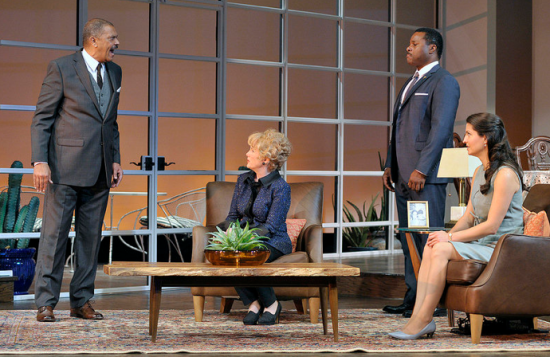 Lonnie Farmer, Julia Duffy, Malcolm-Jamal Warner, and Meredith Forlenza in the Huntington Theatre Company production of Todd Kreidler's compelling family comedy Guess Who's Coming to Dinner directed by David Esbjornson, playing Sept. 5 – Oct. 5, 2014. Photo: Paul Marotta
